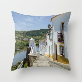 Narrow cobbled street in the Alentejo, Portugal Throw Pillow