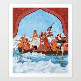 Immigrants Crossing Delaware River Art Print