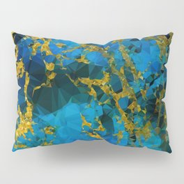 Blue Gold Marble Low Poly Geometric Triangles Pillow Sham