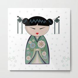 Green flower kokeshi Metal Print