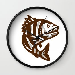 Sheepshead Fish Jumping Isolated Retro Wall Clock