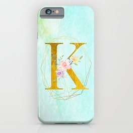 Gold Foil Alphabet Letter K Initials Monogram Frame with a Gold Geometric Wreath iPhone Case
