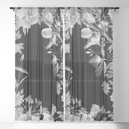 Stardust Black and White Floral Motif Sheer Curtain