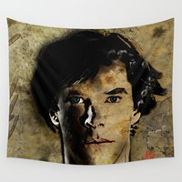 sherlock holmes Wall Tapestries featuring Cumberbatch as Sherlock Holmes by André Joseph Martin