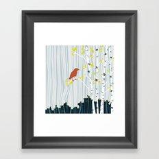 bird in birch Framed Art Print