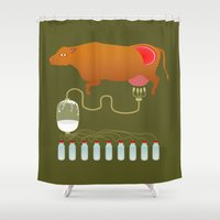 cow Shower Curtains featuring Cow by Mira Maijala