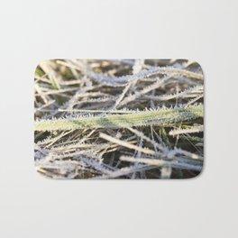 green grass in the frost Bath Mat