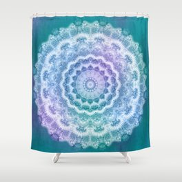 White Mandala on Teal, Purple and Navy Shower Curtain