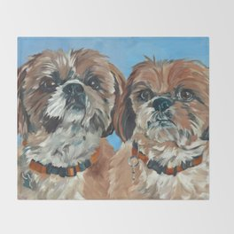 Shih Tzu Buddies Dog Portrait Throw Blanket