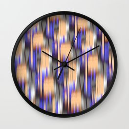 abstract ikat in mild orange and periwinkle blue Wall Clock
