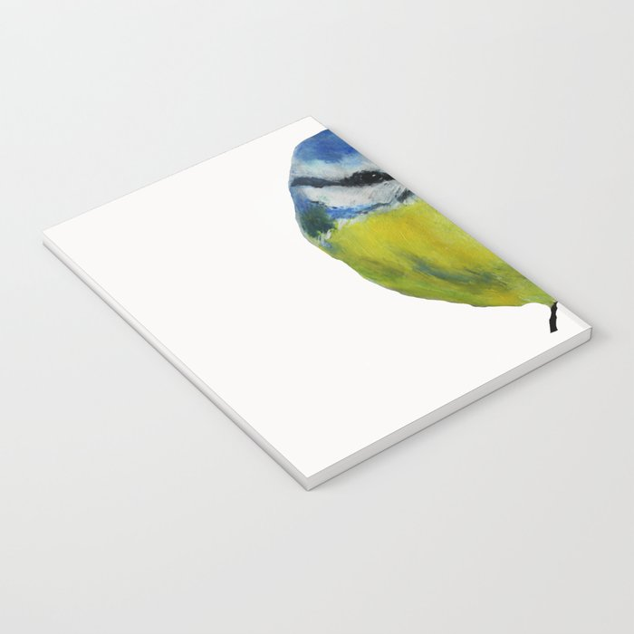 Wild English Garden Bird Blue Tit Contemporary Acrylic Painting White Edit Notebook