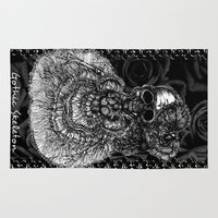 gothic Area & Throw Rugs featuring Gothic Skeleton by AKIKO