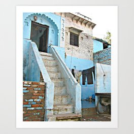 India Streets. Blue House  Art Print