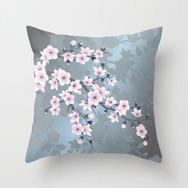 Dusky Pink Grayish Blue Cherry Blossom Throw Pillow