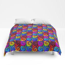 Spiral Tie Dye Checkerboard Comforters