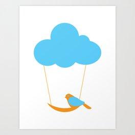 Cute bird and cloud Art Print