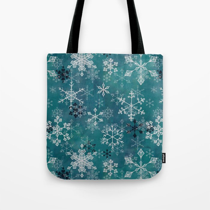 Snowflake Crystals in Turquoise Tote Bag