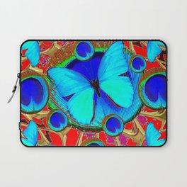 Red Fantasy Turquoise Butterflies Peacock Pattern Eyes Art Laptop Sleeve