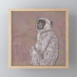 Gray Langur Monkey Framed Mini Art Print