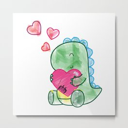 Dinosaur with a Big Heart Metal Print