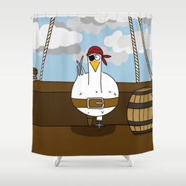 Eglantine la poule (the hen) disguised as a pirate. Shower Curtain