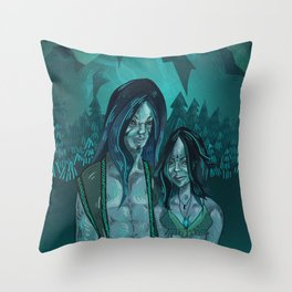 Illustration digital art native hippie couple on mountain with blue feeling Throw Pillow
