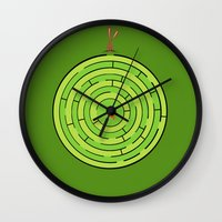 labyrinth Wall Clocks featuring Labyrinth by KATUDESIGN