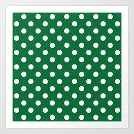 Polka Dots (White & Dark Green Pattern) Art Print