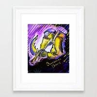 "miles davis Framed Art Prints featuring Crocodiles Davis by Abel Charrow's ""Crocodiles Davis"""