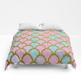 Mermaid Scales Golden Pastel Comforters