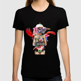 Red Synth Lobster Space Goggle Girl T-shirt