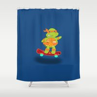 tmnt Shower Curtains featuring Michaelangelo - TMNT by Designs By Misty Blue (Misty Lemons)