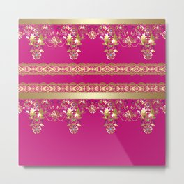 East Arabic Golden ornament .Crimson background . Metal Print