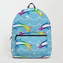 Rainbow Dolphin on the Sea Wave_C Backpack