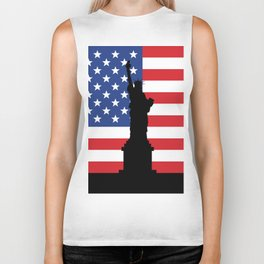 United states of America flag and Statue of Liberty in New York Biker Tank