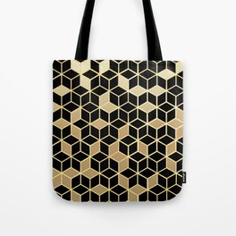 Black And Gold Gradient Cubes Shower Curtain Tote Bag