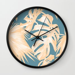 Island Vacation Hibiscus Palm Light Orange Teal Blue Wall Clock