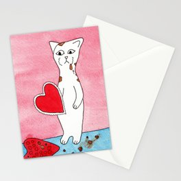 Meow The Cat Valentine's Day Chocolate Sadness Binge Stationery Cards