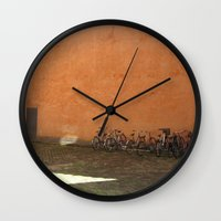 bikes Wall Clocks featuring bikes by Bg portretti