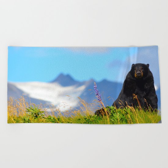 Alaskan Black Bear Beach Towel
