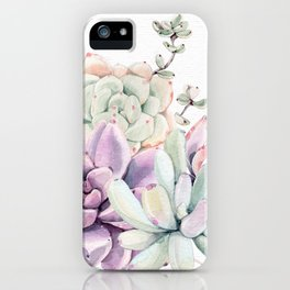 Succulents Mint and Purple by Nature Magick iPhone Case