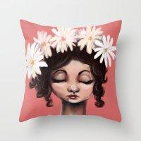 daisies Throw Pillows featuring Daisies by Jaleesa McLean
