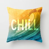 chill Throw Pillows featuring Chill by SURFskate