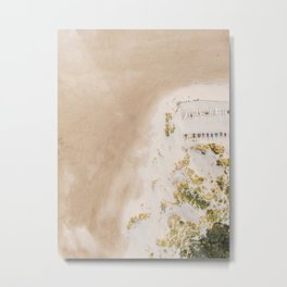 Coastal Drone photography print of the beach and some boats | Wanderlust aerial photography art Metal Print