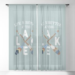 Life Is Better At The LAKE Painted Paddles Sheer Curtain