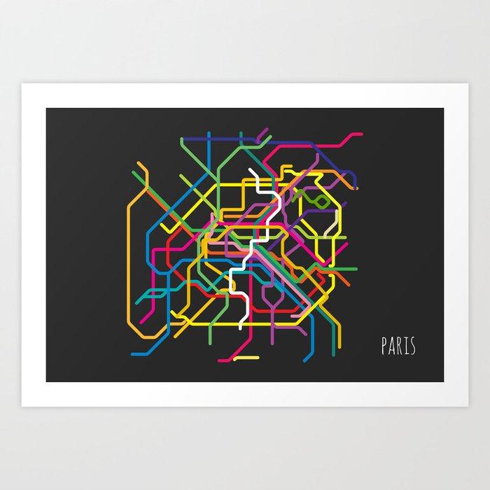 Paris Metro Map Art Print By Sunday Society - Paris metro map print
