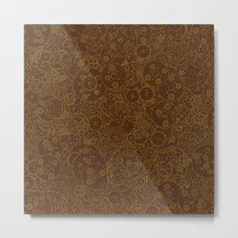 Clockwork Retro / Cogs and clockwork parts lineart pattern in brown and gold Metal Print