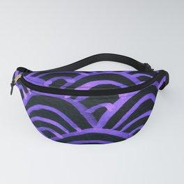 Handpainted Scallops Mermaid Scales Purple Black Fanny Pack