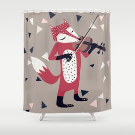 red foxy violinist Shower Curtain