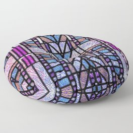 Purple and Blue Art Deco Stained Glass Design Floor Pillow